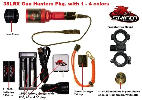 38LRX gun mounted light, long range, Red, Green, White and IR colors available