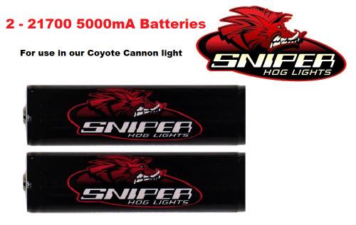 2 21700 5000mA batteries
