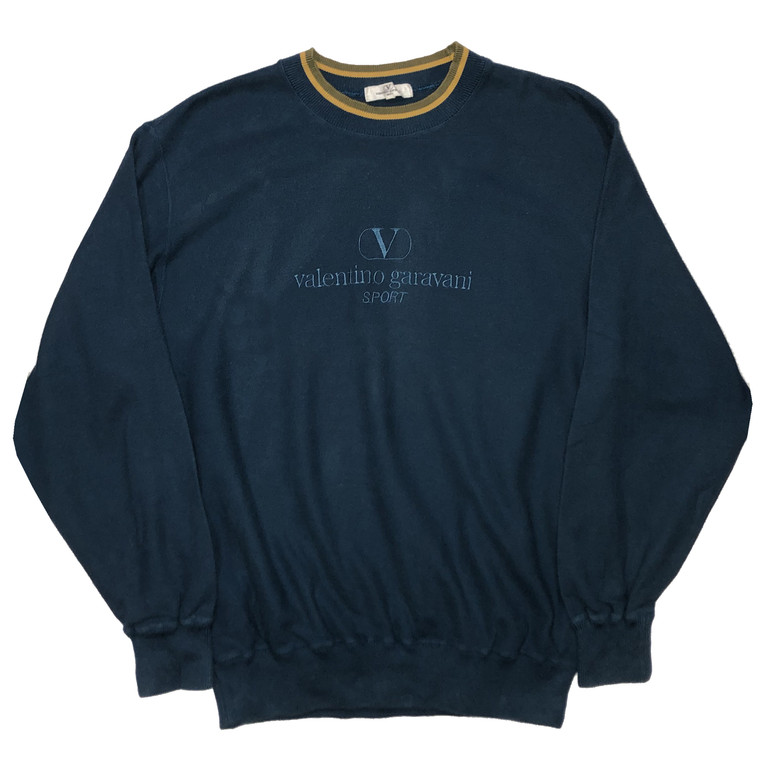 Vintage 90s Valentino Sport Ribbed Crewneck Sweatshirt