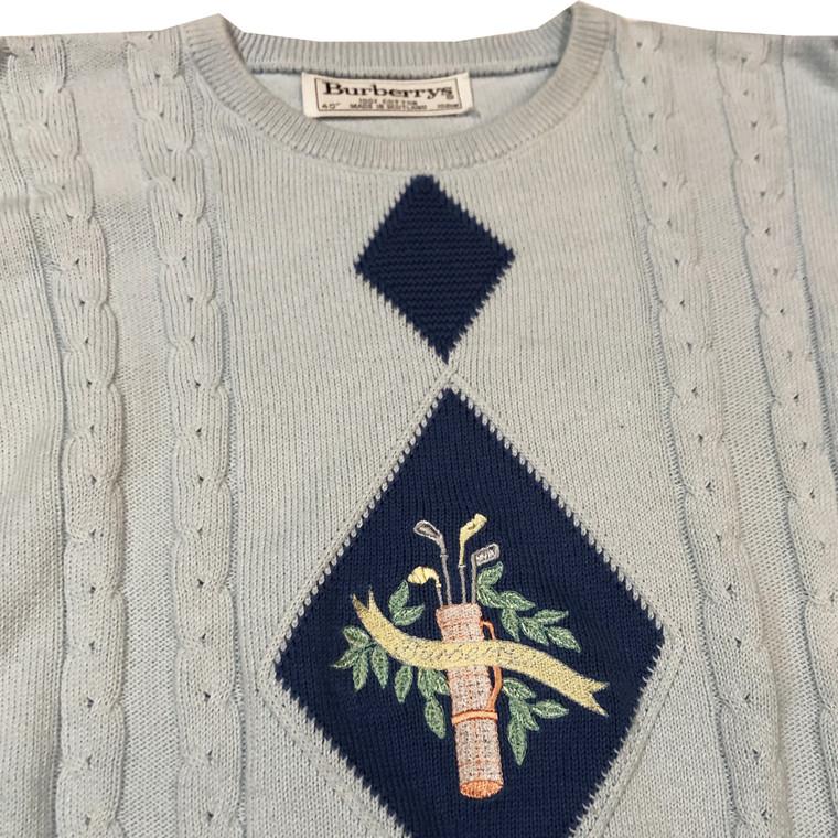 Vintage Burberry Golf Bag Knit Sweater
