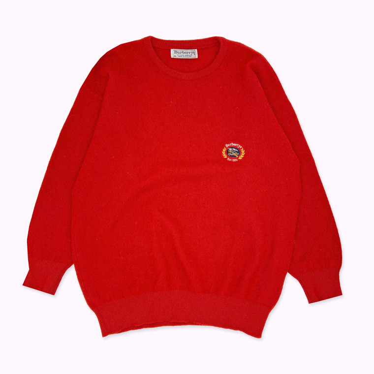 Vintage 90's Burberry Crest Wool Sweater