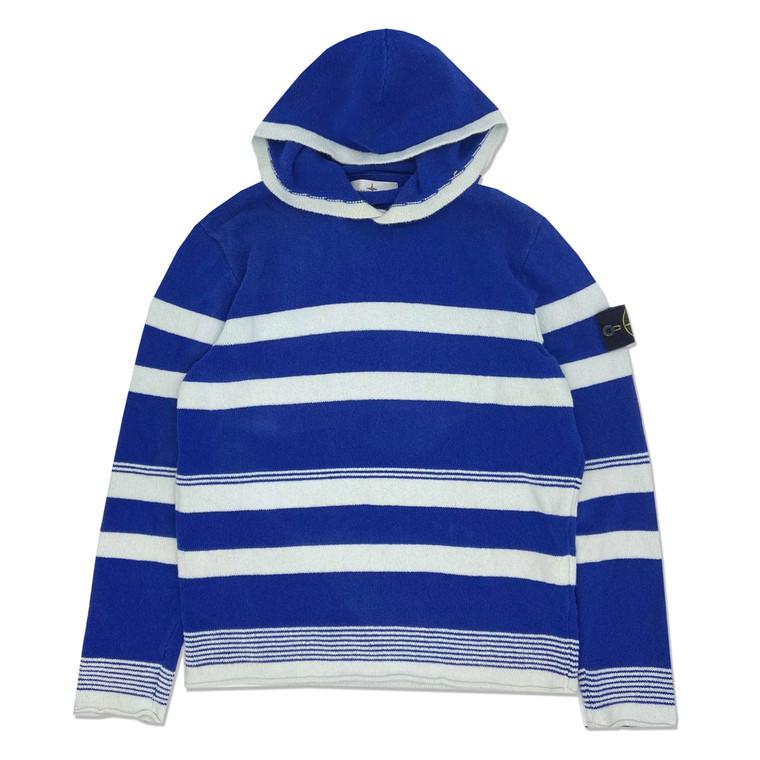 2000s Stone Island Striped Terry Hooded Sweatshirt