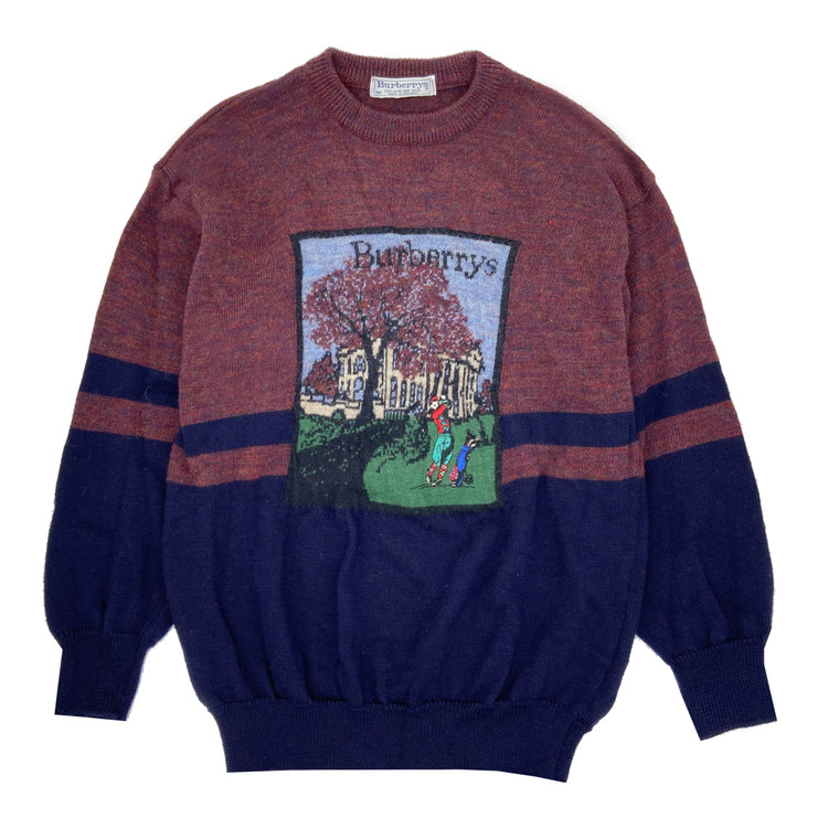 Vintage 90s Burberry Golf Scenery Wool Knit Sweater.