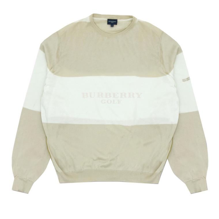 Vintage 1990's  Burberry Golf Tan & Cream Sweater
