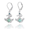 Sterling Silver Anchor with Larimar and London Blue Topaz Lever Back Earrings