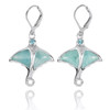 Sterling Silver Stingray with Larimar and Swiss Blue Topaz Lever Back Earrings
