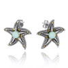 Starfish Stud Earrings with Larimar and Marcasite
