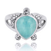 Sterling Silver Turtle Ring with Teardrop Larimar