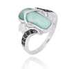 Sterling Silver Sandal Ring with Larimar and Black Spinel