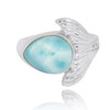 Sterling Silver Whale Tail Ring with Larimar and White CZ