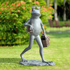 Suave Shopper Frog Garden Sculpture