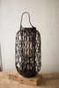 Dark Brown Willow Lantern with Glass - Size Large