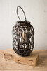 Dark Brown Willow Lantern with Glass - Size Small