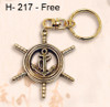 H - 217 -  Ship's Wheel/Anchor Key Chain Option Free with Purchase of (MP-2047) 3 Dimensional Compass Rose Wooden Wall Art with LED Back Lighting