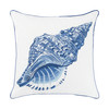 Blue Conch Shell Outdoor Throw Pillow with Sunbrella Fabric
