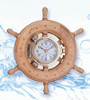 Porthole Clock in Nautical Ship Wheel - Wide Rim