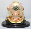 "(BP-704 7.5"" with Base) 7.5"" Decorative Brass Mark V Diving Helmet with Wooden Base"