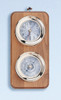 (225-2LC) Deluxe Lacquer Coated Brass Clock and Barometer Weather Station with Wooden Base
