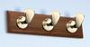 (BW-598) Brass Bollard 3 Hook Coat Rack with Wooden Base
