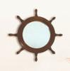 "(BP-710)  17.25"" Wooden Ships Wheel Mirror"