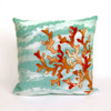 Visions Aqua Coral Wave Indoor/Outdoor Throw Pillow -  Square