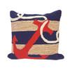 Frontporch Navy Anchor Indoor/Outdoor Throw Pillow