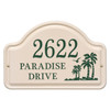 Personalized Arched Ceramic Address Plaque with Palm Trees - Three Lines
