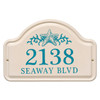 Personalized Arched Ceramic Address Plaque with Star Fish - Two Lines