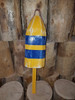 """Wooden Lobster Buoy - 21"""" - Yellow w/ Blue Stripes - Personalized"""