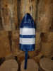 """Wooden Lobster Buoy - 21"""" - Blue with White Stripe - Rope"""