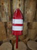 """Wooden Lobster Buoy - 21"""" - Red with White Stripes - Personalized"""