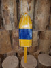 """Wooden Lobster Buoy - 21"""" - Yellow w/ Blue Band - Personalized"""