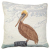 Brown Pelican Needlepoint Pillow