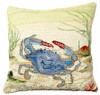 Crab and Sea Star Needlepoint Pillow