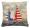 Striped Sailboat Needlepoint Pillow