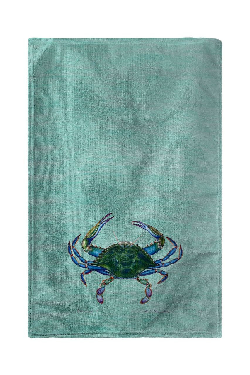 Male Blue Crab on Teal Beach Towel