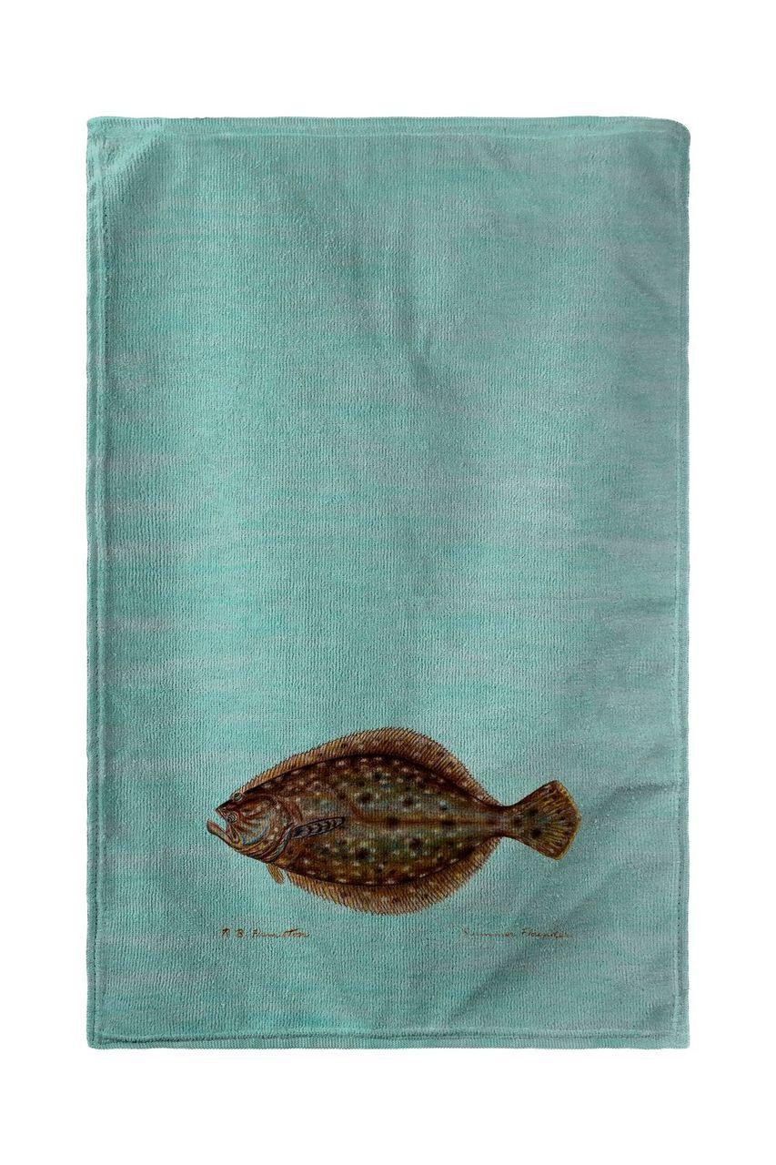 Flounder on Teal Beach Towel