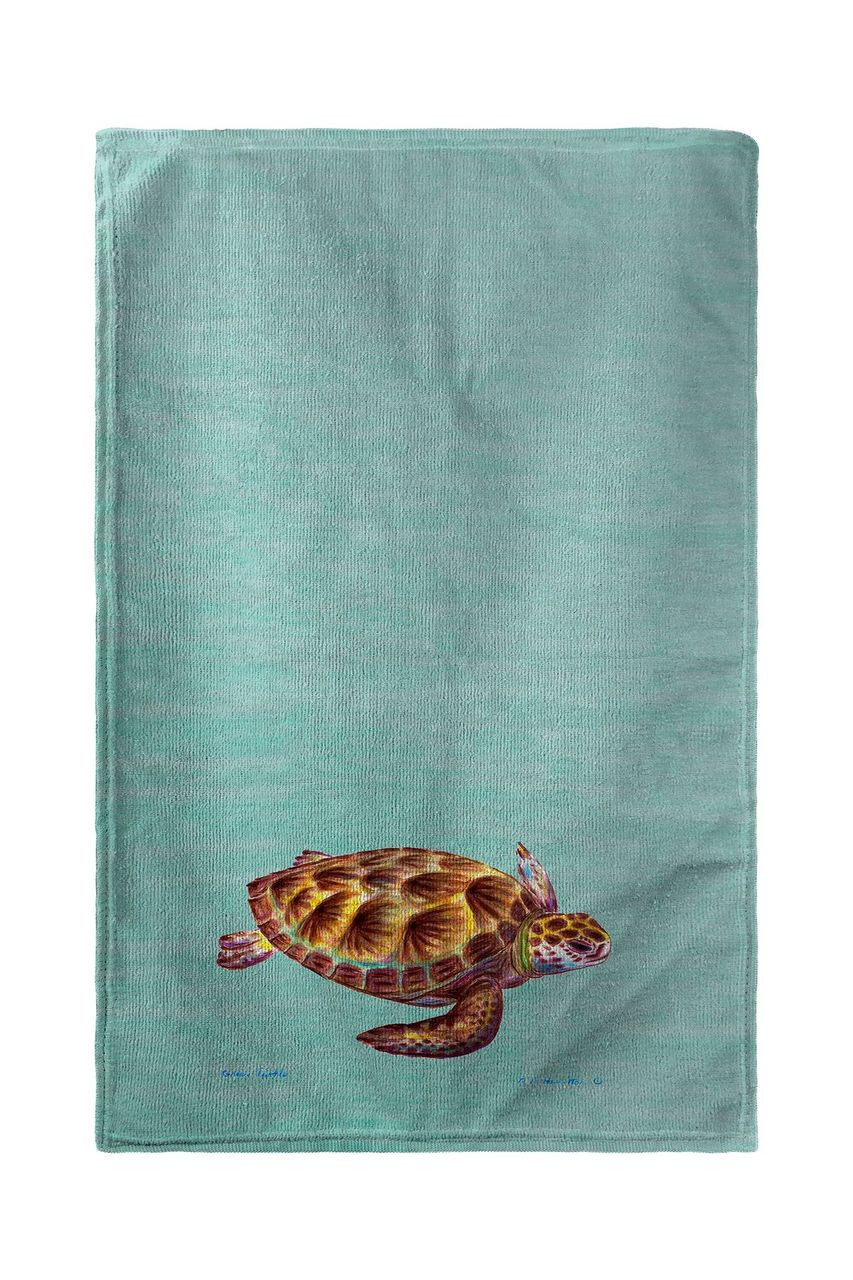 Aqua Green Sea Turtle Beach Towel