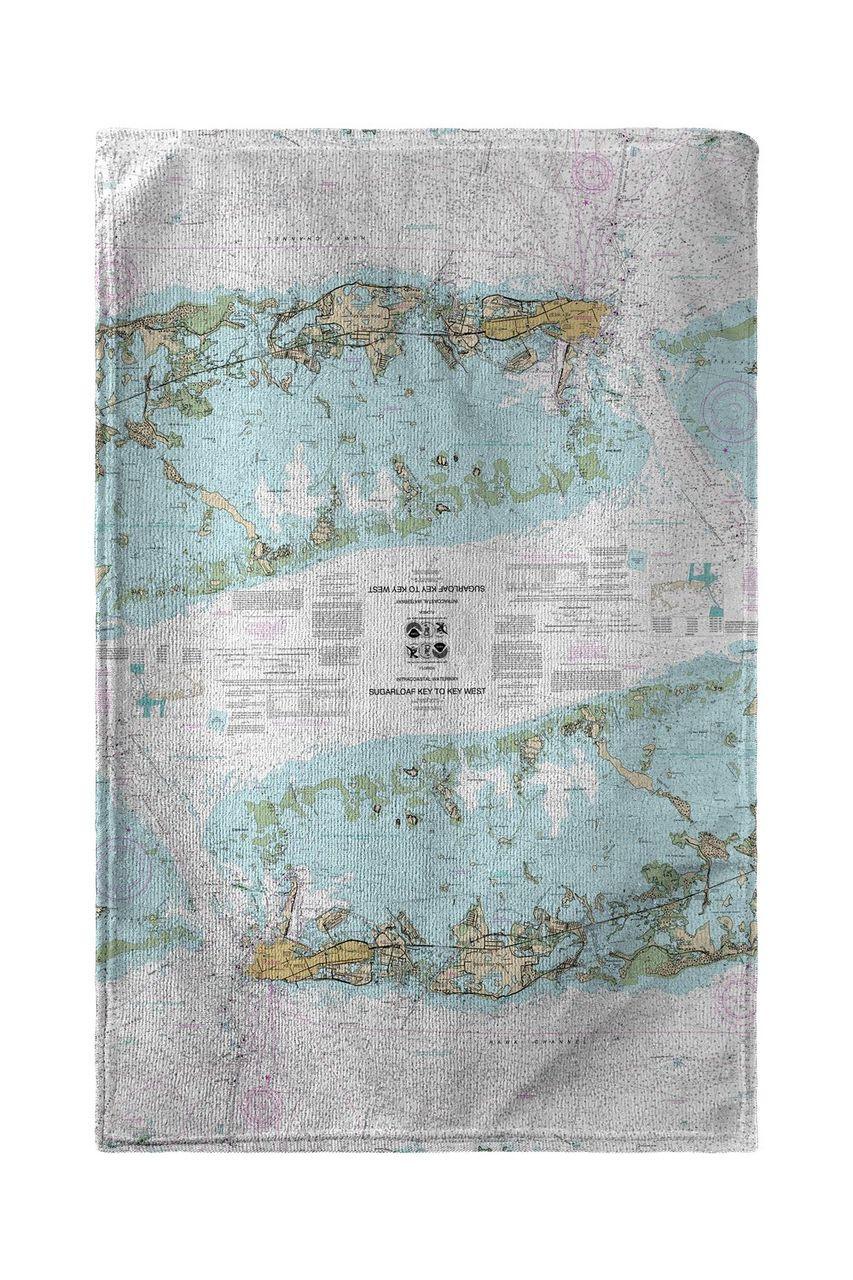 Sugarloaf Key to Key West, FL Nautical Map Beach Towel