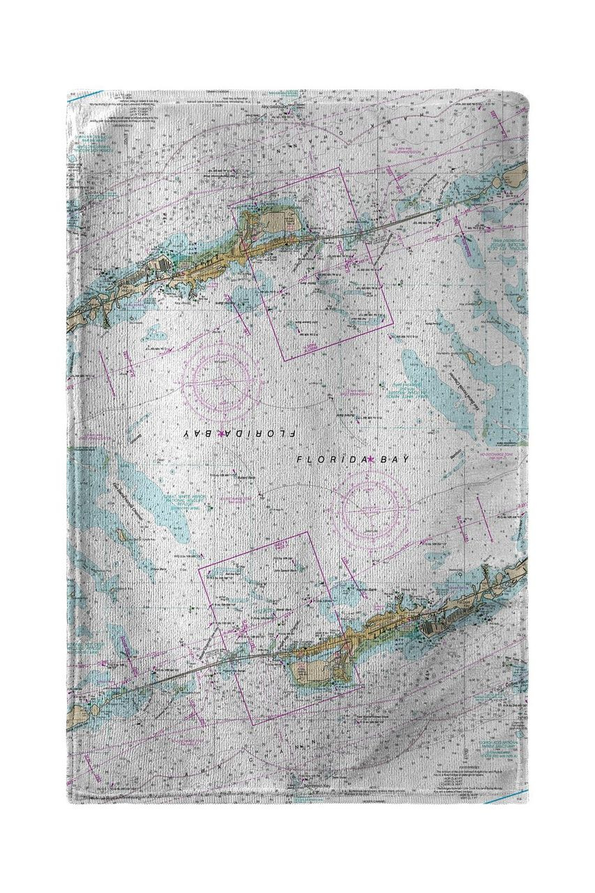 Miami to Marathon & FLorida Bay, FL Nautical Map Beach Towel