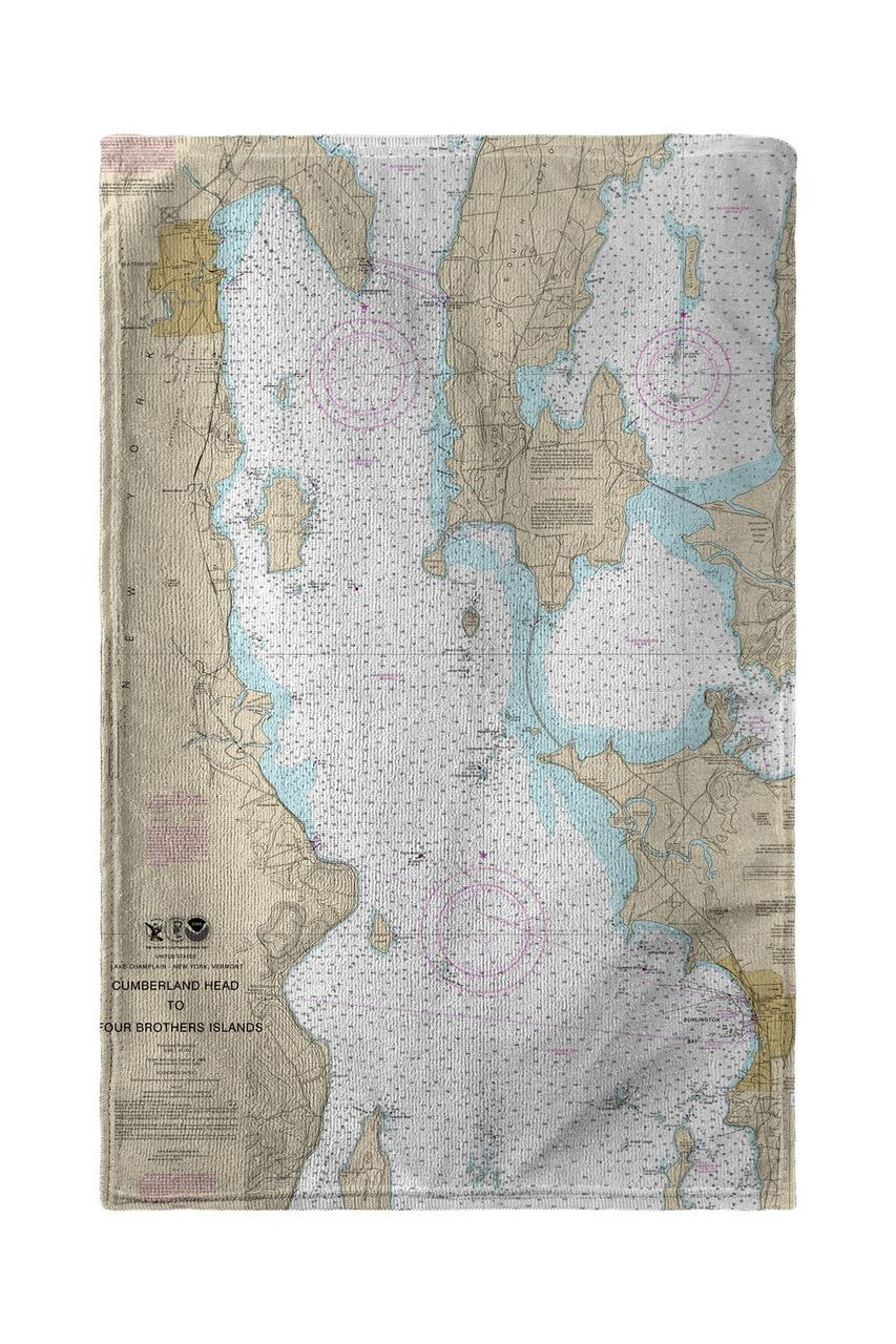 Cumberland Head to Four Brothers Islands, VT Nautical Map Beach Towel