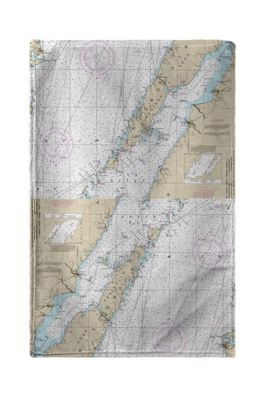 Door County, Green Bay, WI Nautical Map Beach Towel