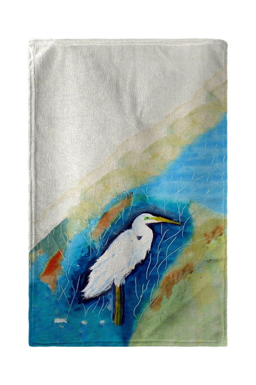 Great Egret Rt Beach Towel