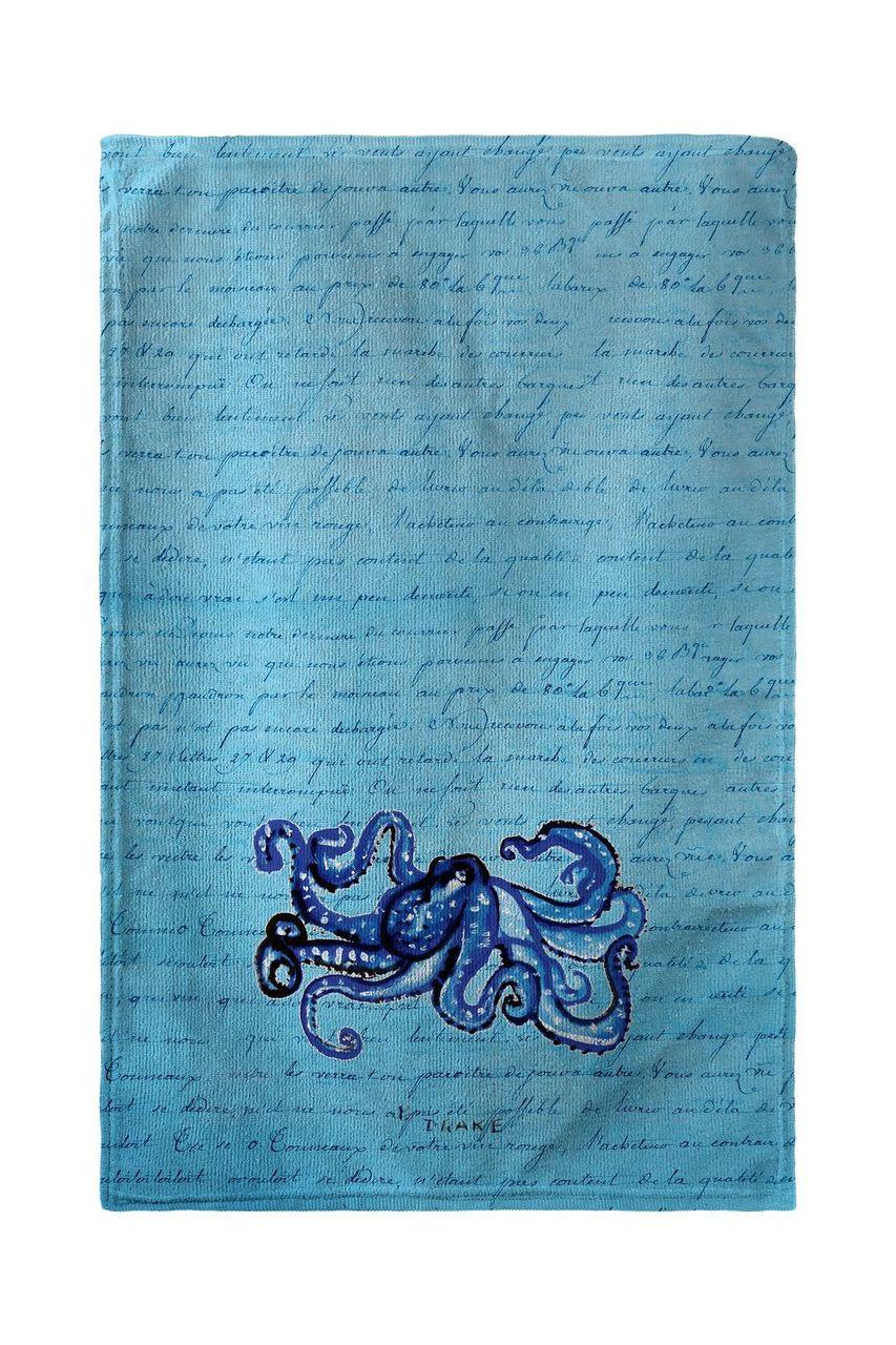 Blue Script Octopus Beach Towel