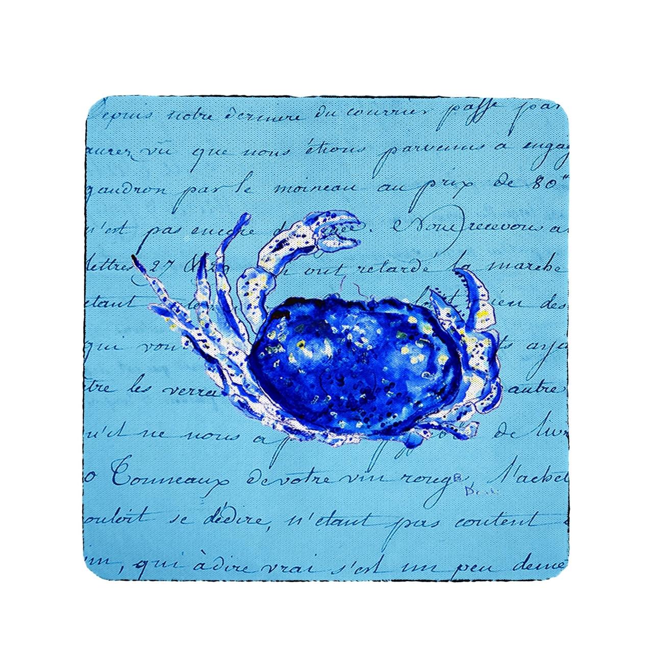 Blue Script Crab Coasters - Set of 4