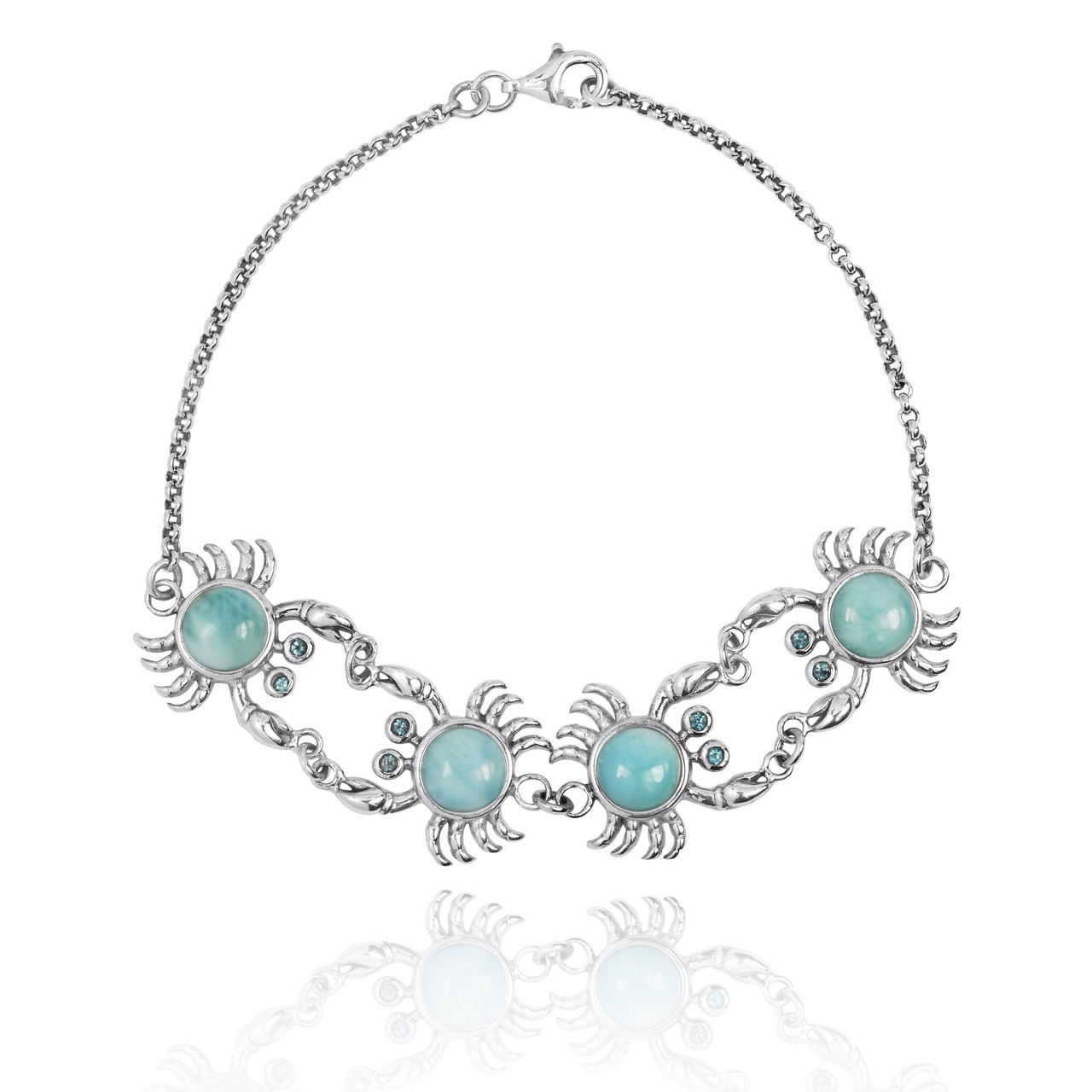 Sterling Silver Crab with Larimar Chain Bracelet