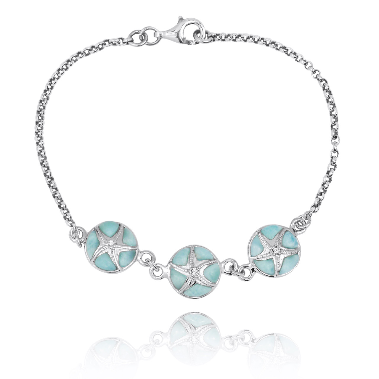 Larimar with Sterling Silver Starfish Chain Bracelet