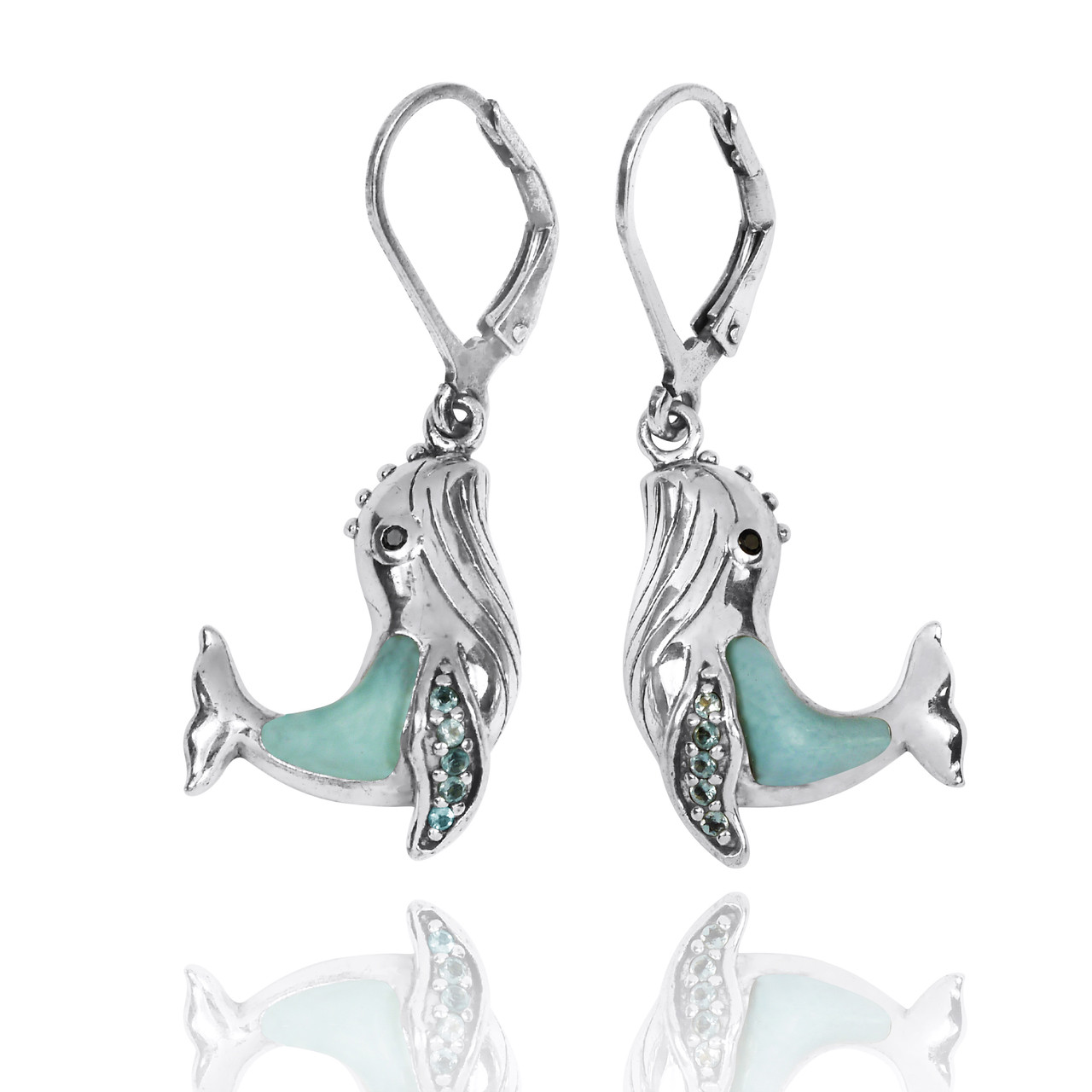 Sterling Silver Whale with Larimar, London Blue Topaz and Black Spinel Lever Back Earrings