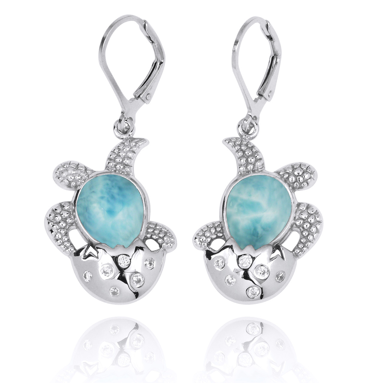 Sterling Silver Egg and Turtle with Larimar Lever Back Earrings