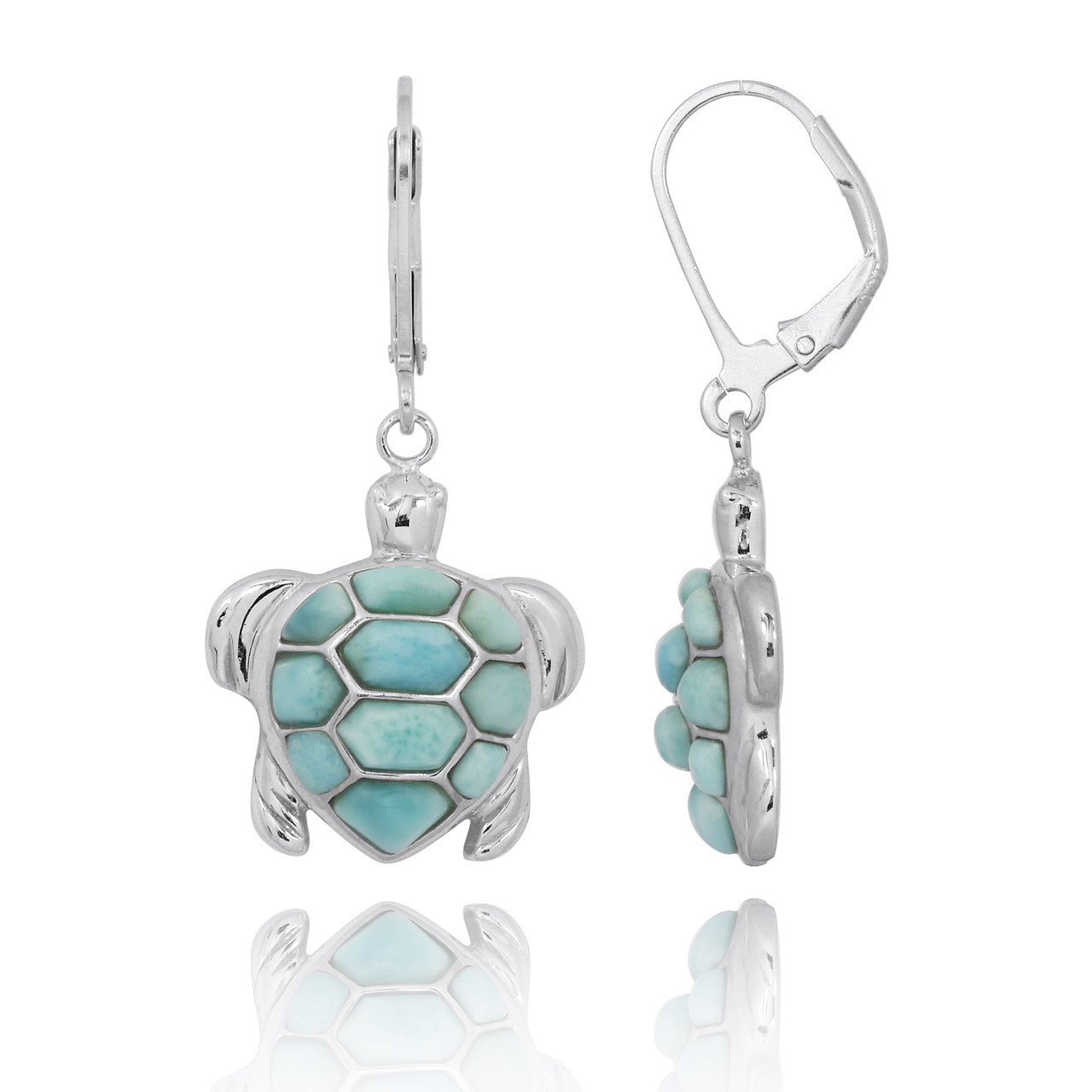 Sterling Silver Turtle with Larimar Lever Back Earrings